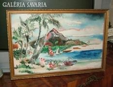 Jelzett akvarell tájkép - tengerparton...
