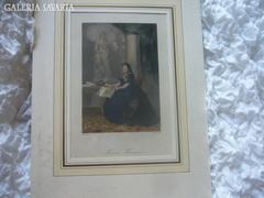 Mária Terézia szinezett acél metszett 1850