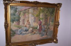 Napfényes udvar,régi festmény