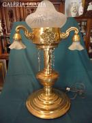Monumentális sárgaréz asztali lámpa, csiszolt függőkke