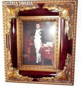 PORCELÁN KÉP RITKASÁG, ANTIK BAROKK KERET: NAPOLEON CSÁSZÁR Jaques Louis David FESTMÉNY ALAPJÁN