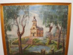 """Ismeretlen festő """" Templom a dombon"""""""
