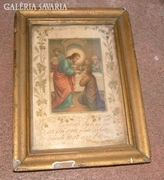 Antik szentáldozási emlék 1893- ból keretezve.