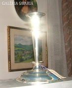 Jelzett, ezüstözött asztali gyertyatartó