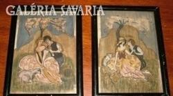 Antik romantikus selyemképek 1925-ből 2db!