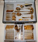 Evőeszköz 12 személyes valódi 24 karátos aranyozású rengeteg tartozékával, értéke:1.350.0000 frt.