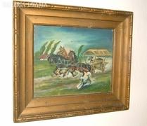 Antik jelzett olaj /fa festmény: kutya kergette kocsi
