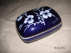 Hollóházi Bonbonier, kék nefelejcs mintás, 9*7  cm