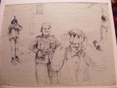 B Tóth szignóval 1983 50x63 cm grafika tus-ceruza papír