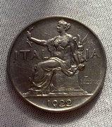 Olasz 1922-es 1 Líra Ritka!! Postaköltség nélkül!!