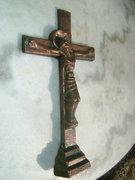 Régi bronzírozott fém kereszt - korpusz