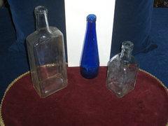 Régi üveg palackok-3 db-30cm,24cm,19cm