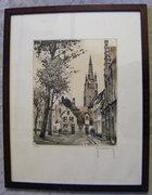 Roger Hebbelinck  1912 Belgium - 24x20 cm színezett rézkar