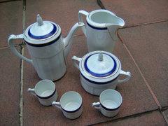 Antik Csehszlovák Kék-arany Szegélyes kávés Készlet
