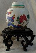 Kézzel festett Kínai fácános, pünkösdi rózsás porcelán edény piros pecsét váza fedeles doboz antik