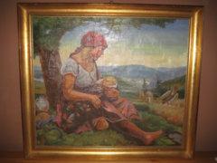 E.Graner : Az Arató Család. vászon festmény 115 éves.