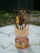 Gyönyörű csehszlovák aranyszínnel festett üveg váza