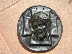 Régi fali kerámia kegytárgy : Jézus büszt relief