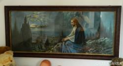 Hatalmas szentkép akvarell Jézus az olajfák hegyén máso