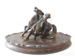 Antik Miniatűr Lovát fékező Csikós szobor