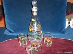 Retro boros készlet - kézzel festett üveg