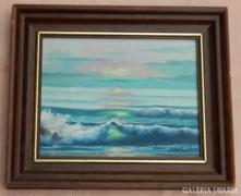 Santi Hana: Háborgó tenger a naplementében olaj/vászon