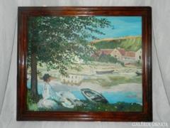 Nő a vízparton - antik olaj / vászon festmény fakeretben