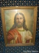 Régi szent-kép - korabeli keretében- 46,5x37 cm