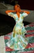 Régi retro kerámia nő szobor