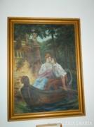 Fenyvesi > hatalmas romantikus olaj/vászon festmény