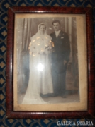 Antik esküvői fotó korabeli keretben - 30 x 23 cm