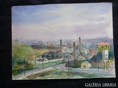Ó Buda látképe 1943 39 x 29 festmény akvarell