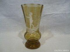 4807 J3 Antik festett díszes üveg váza 15 cm