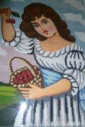 Goblein kép,cseresznyét szedő hölgy.