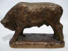 3412 Régi bronz bika szobor