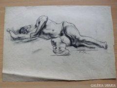 Eredeti Blum Frigyes studió akt, szénrajz 1920