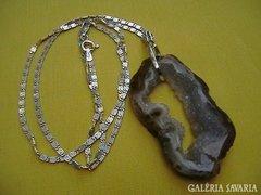 Achat druzy szelet ezüst láncon