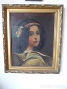 Luigi Bazzani női portré olaj 1891 Torino