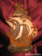 Vitorlás hajó viasz falikép 34 x 21 cm.