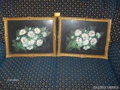Antik képkeret párban, virágos képekkel