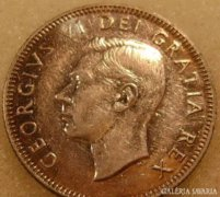 Kanada 25 cents 1948 Ag RITKA !!!