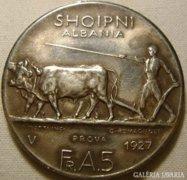 Albánia   5 franga  1927 PROVA (FERT   veret)