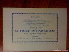 Meghivó Film: A Thief in paradies cca 1925 Bp.
