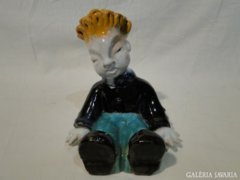 0404 H. Rahmer Mária art deco kerámia ülő kisfiú