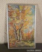 3587 Régi olaj karton erdőrészlet festmény