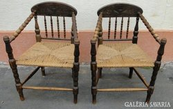 5482 Antik gyékény fonatos gondolkodó szék pár