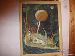 """Soltész A. modern ,érdekes  festménye, mérete 65 x 85 cm,  """" képcsarnokos   """""""