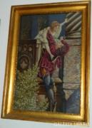 Antik  textilművészeti szőttes gobelin biedermeier keret
