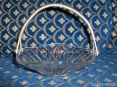 Retro kínáló tál üvegből, fém fogantyúval