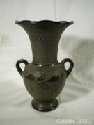 U157 C5 Régi fekete cserép fodros váza